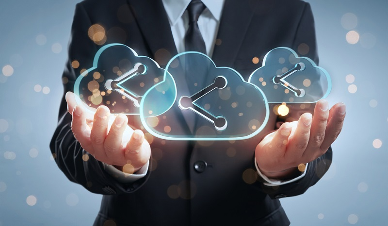 man holding digital cloud with links