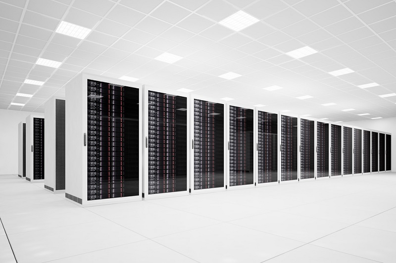 Data Center with long row of servers
