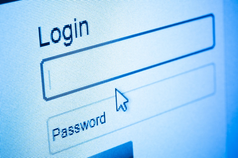 Login and password on computer screen