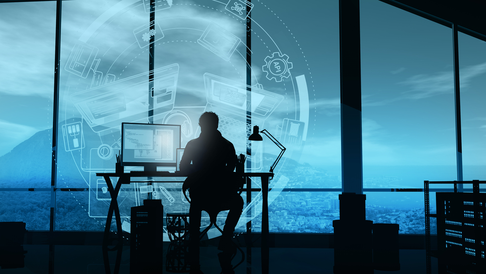 a man monitoring cybresecurity network