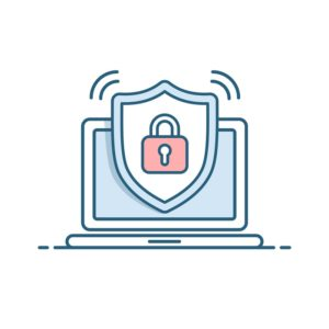 Shield icon with padlock on screen laptop